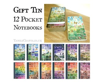 Notebook Set in Gift Tin | 12 Monthly Notebooks | A6 Pocket Travel Notebook Set, Recycled Pocket Journal Set | Postage Stamp Stationery Gift