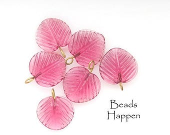 Rose Pink  14mm Pressed Glass Leaf Leaves with Embedded Wire Loop, (B1-R3-C2), Quantity 6