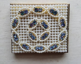 Vintage Wiesner of Miami Powder Compact with Pearls and Rhinestones