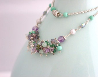 Gem Cluster Necklace / Handmade / One of a Kind / Amethyst / Amazonite / Aventurine / Blue Topaz / Pearls / Turquoise / Crystals / Sterling