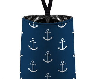 Car Trash Bag // Auto Trash Bag // Car Accessories // Car Litter Bag // Car Garbage Bag -  Anchors - Navy Blue White - Navy Sailor Nautical