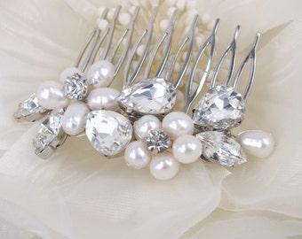 Mia-Freshwater Pearl and Rhinestone Bridal Comb