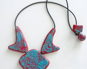 Turquoise and Red Necklace, Polymer Clay and Rubber Necklace, Abstract Turquoise and Red Necklace, Short Red Black and Blue Necklace,
