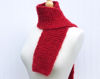 Red scarf, hand knit scarf, winter scarf, womens scarves, knit neck warmer, chunky scarf, gift for her, gift for him, fuzzy scarf
