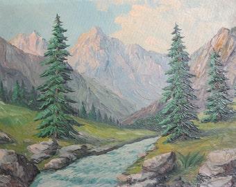 Vintage forest river landscape oil painting