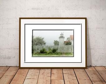 Foggy Landscape-Coastal Print-Maine Decor-Maine Photography-Fort Point Lighthouse Photography-Coastal Wall Art-Horizontal Wall Art
