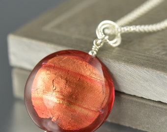 Orange Murano glass pendant with chain sterling silver gifts for her