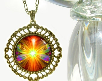"Orange Psychedelic Necklace, Chakra Jewelry, Reiki Attuned ""Light Being"""