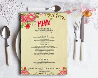 printable menu wedding menu template editable menu dinner menu card wedding menu cards diy menu template menu download wedding drink menu