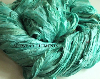 Pure Sari Silk, Medium Blue Green Aqua, 6 Yards, Fair Trade, Silk Ribbon, Silk, Textile Fiber, Art Yarn, Ribbon, Silk, Artwear Elements, #96