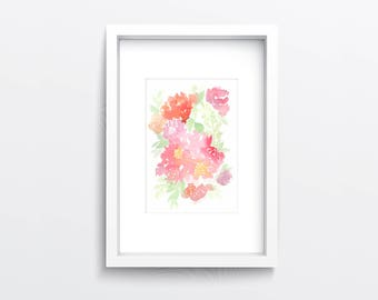 Watercolour Flower Original Painting, Pink Flowers, Floral wall art, Flower decor, Gift for her, Gift for Mum, Peonies, Home decor, Nature
