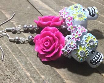 White Skull Earrings, Pink Flower Earrings