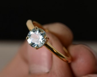 Natural Aquamarine Solitaire Ring Yellow Gold Plated Silver March Birthstone Ring