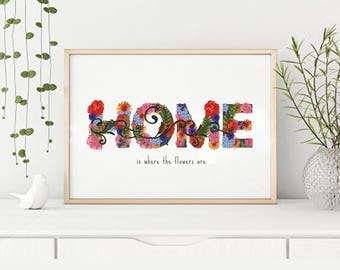 Wall Print, Valentines Day Gift, Hanging, Home Sweet Home, Instant, Download, Floral Art, 3 Sizes, Gift, Mom, Sister, Aunt, Grandma, Modern