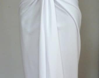 White cotton lycra v neck dress