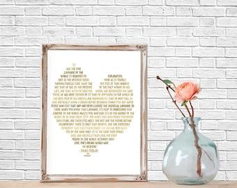 Quote Prints, Literary Quote, Modern Art Print, The Alchemist, Typography, Printable, Quote Art, Love, Home Decor, Wedding Decor, Gold