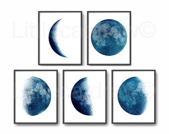 Moon Phase Print Set of 5 Watercolor Prints Luna Minimalist Blue Lunar Phases Moon Art Home Decor 5 Art Prints Wall Art Wall Decor Unframed