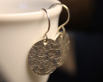 Simple Modern Hammered Matte Silk Disc Sterling Silver Metal Earrings - Small and Subtle