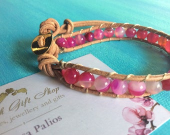 Leather Pink Agate Wrap Bracelet