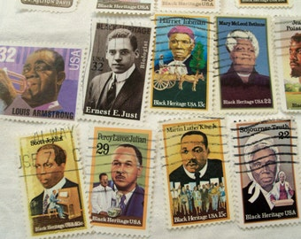 25 Black History Stamps,  vintage stamps, Black History Month, Black Heritage, Martin Luther King, Used Stamps