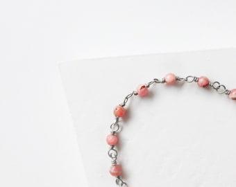 Rhodochrosite Wrapped Bracelet/ Rhodochrosite Sterling Silver Bracelet/ Sterling Silver Bracelet / Wire Wrapped Bracelet/ Gemstone Bracelet