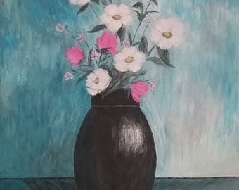 Original Fine Art Painting, Wildflowers in a Vase, Original Floral Painting, Impressionism, Contemporary Painting