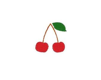 Machine embroidery fruit cherry