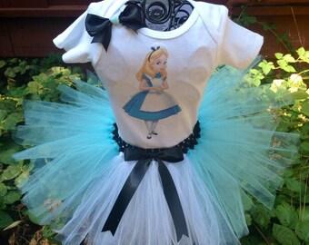 Alice in wonderland tutu set, alice in wonderland birthday outfit