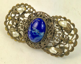 Czech Filigree Brooch Vintage-Blue Glass and Pearl Brooch or Pin from Czechoslovakia