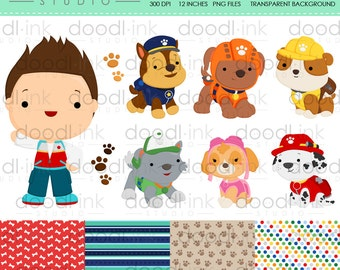 SALE 50%!!! Heroic Puppies Cute Digital Clipart / Dog with Costume Clip Art / Digital Paper For Personal Use / INSTANT DOWNLOAD
