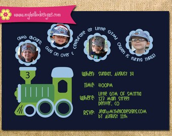 Printable Train Invitation - Train Invite DIY - boy girl invitation party card printable birthday chugga chugga choo choo photo invitation