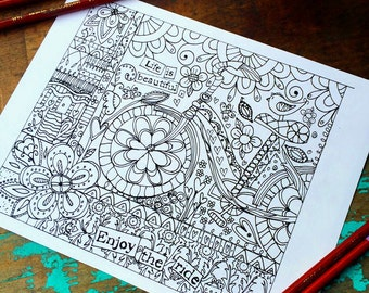 Enjoy the Ride Adult Coloring Page -Bike/Floral/ Butterflies-Lisa Kaus