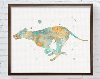Greyhound Art, Greyhound Print, Greyhound Watercolor, Greyhound Painting, Greyhound Wall Decor, Greyhound Gifts, Greyhound Poster, Framed
