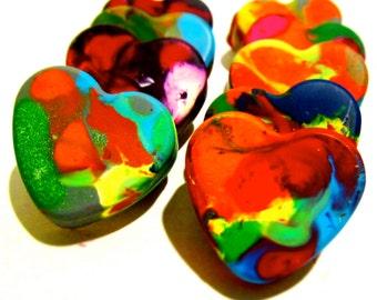 Kid's VALENTINE'S Day HEART Crayons - Mini Heart Recycled Crayon Set - Heart Crayons for Valentines Day-Mini Rainbow Crayons in Gift Box Set