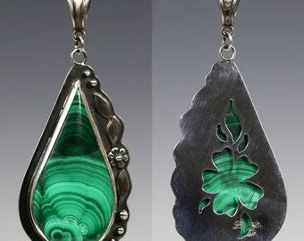 Reversible Malachite Pendant. Sterling Silver Necklace. Genuine Gemstone. Pierced Flower Pattern. Teardrop Pendant. One of a Kind. f16p013