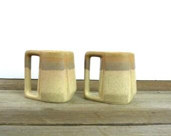Pair of mid century ceramic mugs | square handles | 1601