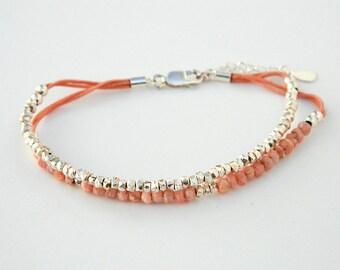 Sterling silver bracelet. Silver beaded bracelet. Rhodochrosite bracelet. Friendship bracelet. Gemstone bracelet. Tiny silver  beads.GE018