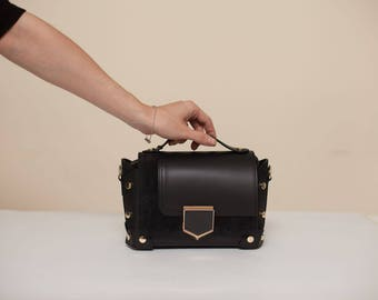 Black Studded Leather Bag