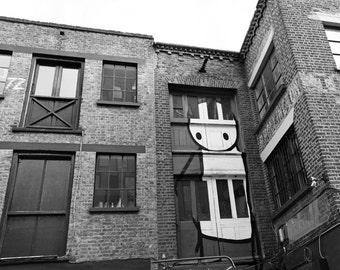 STIK Street Art, Graffiti, London Photography, black and white photo, Fine Art Print, Whimsical, brown, Wall Art, Urban Photo, Office Decor