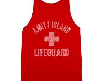 Amity Island Lifeguard Funny Jaws Shark Week Humor Movie 80S Tank Top DT0710