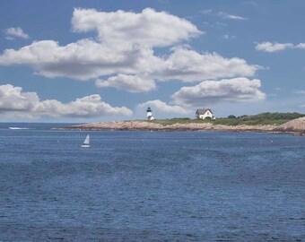 Photo Print - Rockport, Massachusetts, Straitsmouth Island Lighthouse, Fishing Village, Lighthouse, Sailboat, New England Coastline