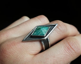 Amazonite & Silver Ring-Size 7