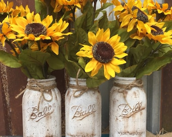 Sunflower Mason Jar Arrangement Flower arrangement mason Jar floral Arrangement