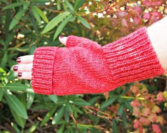 Fingerlose Handschuhe - Paprika Bambus wolle