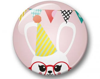 Party bunny badge 32mm | Cute bunny pin back button | kawaii pin badge  | kids party | Gift Party Favor | bear Accessory