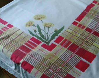 1950s Calaprint red and yellow madras plaid border tablecloth with dandelions