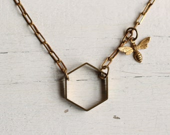 Bee Hive Necklace ... Honey Bee Honeycomb Hexagon Geometric Brass