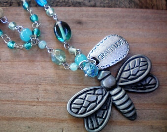 Butterfly necklace, Gratitude butterfly pendant, Blue double layer necklace. Critter jewelry, Up-cycled jewelry Re-purposed jewelry Recycled