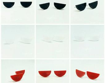 Half Moon Red Black of White Stud Earrings Titanium Posts Sensitive Ears