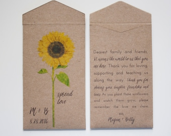 Sunflower Seed Packet Wedding Favor Envelopes - Personalized Sunflower Wedding Favor - Rustic Seed Packets - Many Colors Available